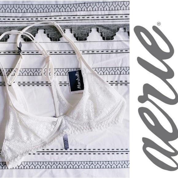 68e5dd7853 NWT AERIE White Cream Unlined Triangle Plunge Bra